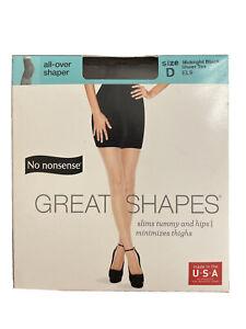 No Nonsense Great Shapes Pantyhose Size D Midnight Black Sheer Toe EL9  New