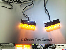 2x Chrome Front Motorcycle LED Turn Signal Light Indicator Amber Lamp : Harley