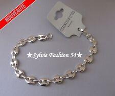 Bracelet bijou homme femme grain de café Acier inoxydable couleur or blanc 0,8cm