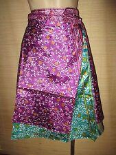 "New VINTAGE Silk sari wrap SKIRT FREESIZE (8-16 best) 26"" Knee/calf length (#91)"