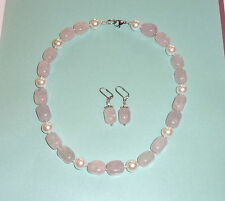 Halsketten und Anhänger mit Rosenquarz Echtschmuck aus Edelstahl für Damen