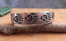 Hopi Overlay Sterling Silver Cuff Bracelet BEAR CLAW by Manuel Hoyungowa