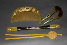 Vintage JAPANESE Hair Comb 1900s ANTIQUE MAKIE KUSHI KANZASHI KIMONO JAPAN a317
