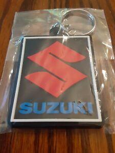 """Suzuki Motorcycle Keychain Key Chain blue red black GSXR 2"""" Rubber fob"""