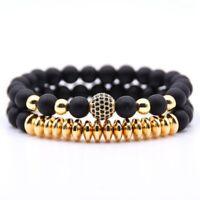 2Pcs Men's Natural Stone Matte Black CZ Charm Copper Bead Bracelets Gift Newly