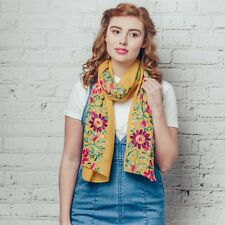F & J ~ Hazel & Pip Ella Yellow Floral Embroidered Scarf ~ ideal present