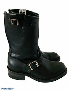 🔥 Frye • Mid Calves Black Leather Motorcycle Style Buckle Boots Women's Size 8