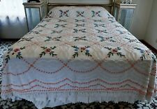MIDCENTURY CABIN CRAFTS NEEDLE TUFT COTTON CHENILLE FLORAL BEDSPREAD - 2