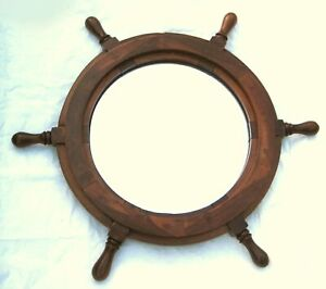 Steering Wheel Made from Wood With Mirror 45 CM