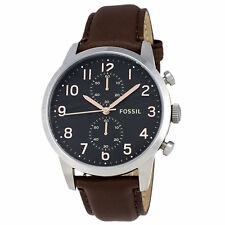 Fossil Townsman FS4873 Chronograph Brown Leather Black Dial SS Quartz Mens Watch