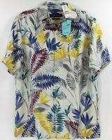 Tommy Bahama Taza Fronds-Coconut Cream Island Zone Silk Blend Camp Shirt 135