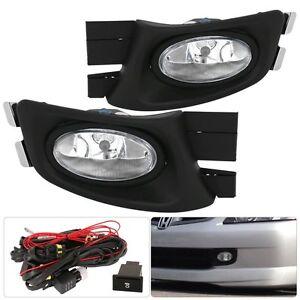For 2003-2005 Honda Accord Sedan 4 Door JDM Fog Light Clear Lamp Assembly Kit