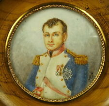"""Général Napoléon Bonaparte intéressante huile miniature XIX e signée """" A F """""""