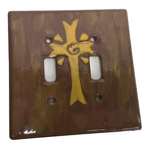 """Cross Religious Ceramic Two Toggle Switch Plate Outlet Cover Brown Yellow 5""""x5"""""""