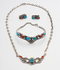 Sterling silver turquoise coral Navajo necklace bracelet earrings set E. Spencer