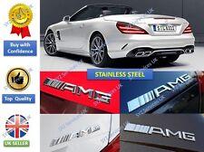 2X AMG Boot Trunk Badge Emblème Autocollant Chrome Argent StainlessSteel Pour Mercedes