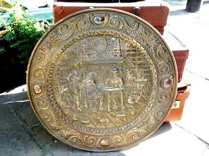 """Vintage Brass Wall Hanging Charger / Plate / Large 24.75"""" Diameter"""