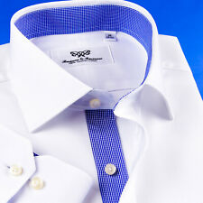 Mens Professional White Formal Business Shirts With Blue Mini Check Smart