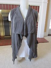 Forever 21 Open Drape Waterfall Front Gray Knit Vest Women's Size MEDIUM Pockets