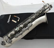 Professional 2018 Satin nickel Baritone Saxophone Eb Sax Black Key With Case