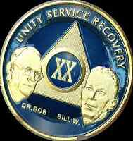 AA Founders 20 Year Chip Gold Plated Blue Alcoholics Anonymous Medallion Coin