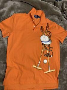 Vtg Ralph Lauren Mallets Graphic Polo Shirt Orange 5 Horseman Stampede Rugby M