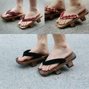 Japanese Style Women Men Geta Bidentate Flip Flops Wodden Sandals Slippers