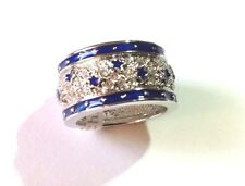 Blue Enamel CZ Stars Ring