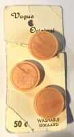 """VOGUE THREE ROUND PEACH BUTTONS PLASTIC HOOK 7/8"""" VINTAGE NOS MADE IN HOLLAND"""