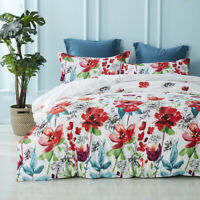 Bedding Sets Watercolor Flowers Comforter Set Pillows Case and Duvet Cover White