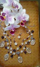 Handmade white jade, garnet and tourmaline jewellery set