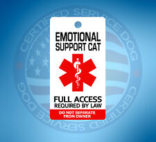 EMOTIONAL SUPPORT CAT ID TAG KEY CHAIN / COLLAR TAG FOR ADA ESA PTSD
