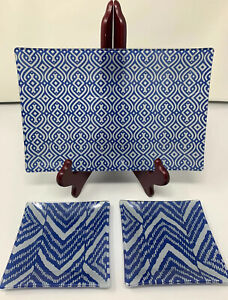 The Philadelphia Group Glass Jewelry and Trinket Tray 3- Piece Set, Blue NEW