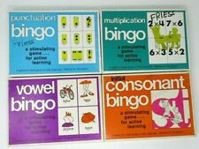 Educational Games Bingo Homeschools Vintage Multiply Consonant Vowel Punctuation