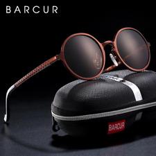 Gafas de sol BARCUR para hombre redondas, polarizadas, vintage y protecciónUV400