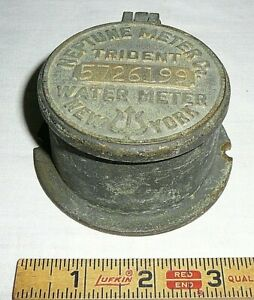 Vintage Brass Neptune Company Water Meter Trident New York w/ Flip Up Lid &Glass