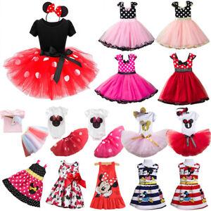 Minnie Mouse Baby Kids Girls Birthday Party Fancy Dress Up Tutu Dress Costume