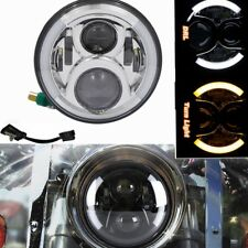 "Chrome 7"" Moto Led Headlamp DRL Turn Signal Halo Ring for Harley Touring Softail"