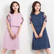 Nursing Breastfeeding Dress Off-shoulder Maternity Tunic Modal Cotton 8 10 12 14