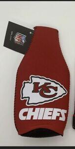 Kansas City Chiefs Zip Up Beer Bottle Suit Insulator Holder Soda Can NEW NFL