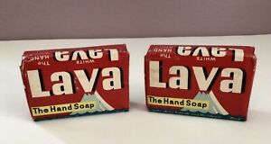Vintage (2) LAVA White Hand Soap Bars Procter Gamble USA Regular Size (4 oz.)
