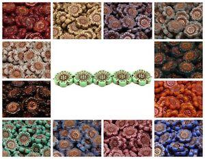 CHOOSE COLOR! 4pcs 18mm Flower Beads Czech Glass