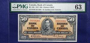 Bank of Canada 1937 BC-26b $50 Gordon-Towers BH3211201 PMG CUNC63