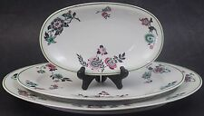 3 Pc French Art Deco Limoges Ahrenfeldt Porcelain Floral Oval Serving Platters