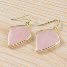 Gold Plated Natural Rose Quartz Lapis Lazuli Crystal Stone Dangle Hook Earring
