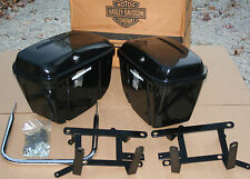 New Old Stock Original Harley 1984 FXRP Saddle Bag & Bracket Set Black NOS Parts