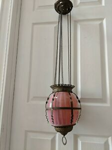 Antique Retractable Hanging Rose Opalescent Globe Oil Lamp