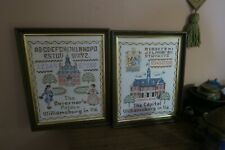 "Set @ 2 Vintage Handmade Embroidered Cross Stitch Sampler 10"" x 14"" Williamsburg"