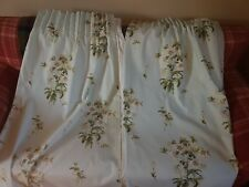 Sandersons Duck Egg Blue & White Blossom Print Curtains Fully Lined W66 D52