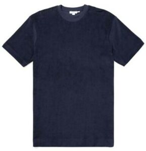 Sunspel Tee Hemd Towelling Baumwolle Schaumstoff Blau Marineblau Größe XL 48/50